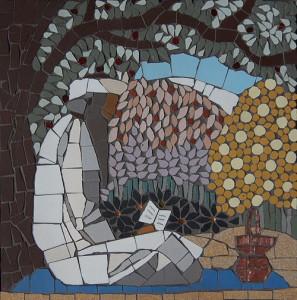 Man praying mosaic