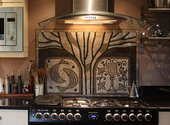 Tree of Life mosaic kitchen splashback