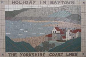 Victorian Railway Poster Mosaic Robin Hood's Bay Sea wall